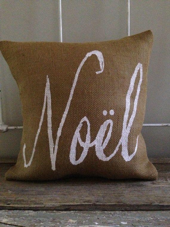 Burlap Pillow Noel Christmas/Holiday decor by TwoPeachesDesign $29.00 & 124 best Home Decor:: Pillows images on Pinterest   Cushions ... pillowsntoast.com