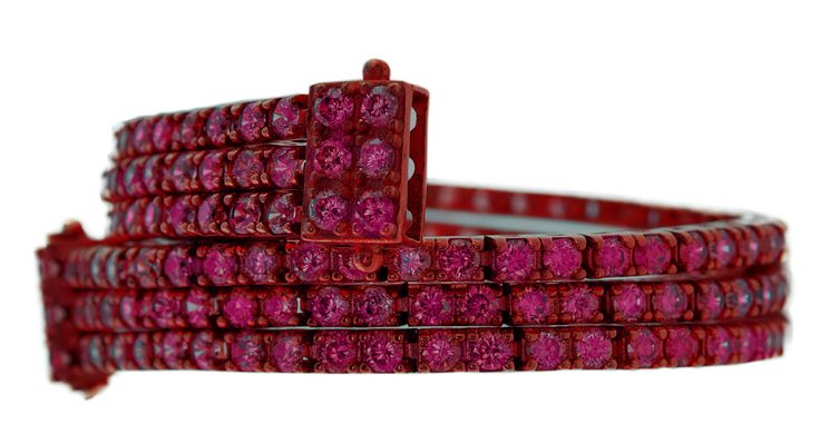 bracciale triplo tennis rosso rubino