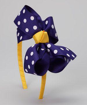 Loving this Purple & White Polka Dot Bow Headband on #zulily! #zulilyfinds