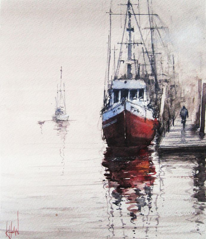 """""""Boats at Dawn"""" by S Khan.  #art #painting #artwork #canvas #boats #sailboats #sailing #dock #marineart #marine #fishingboat"""