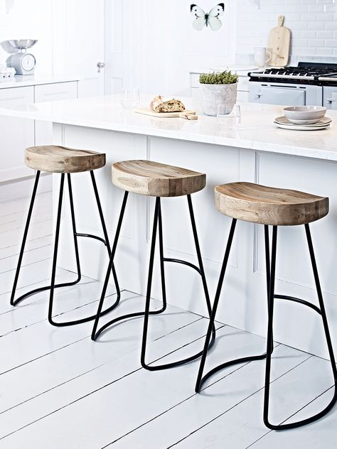 A Contemporary Twist On Our Bestselling Weathered Oak Stool, This Stylish  High Stool Features Natural