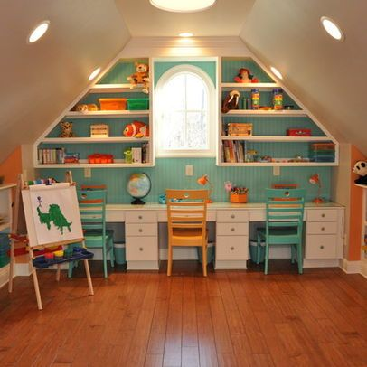 homework wall... attic playroom
