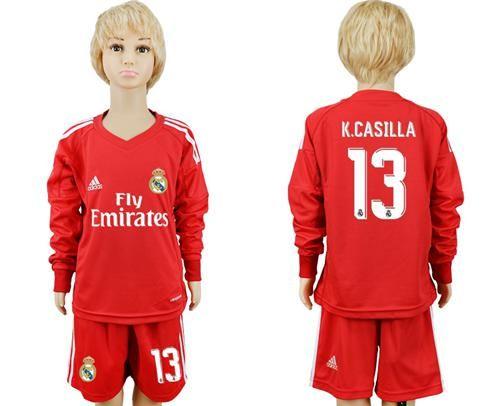 f37ce9eeb Real Madrid 13 K Casilla Red Goalkeeper Long Sleeves Kid Soccer