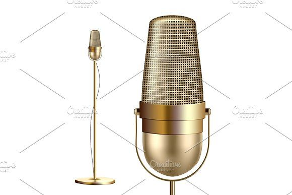 Retro Golden Microphone With Stand Photography Magazine Template Microphone Retro