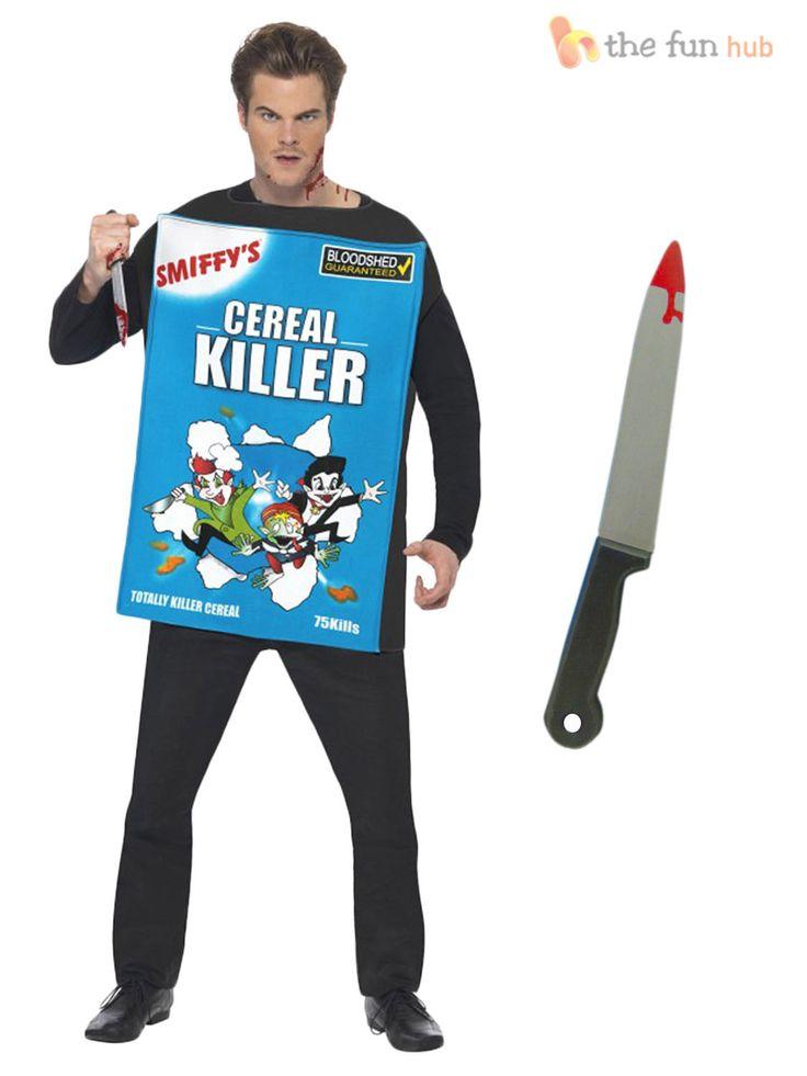 Adult Mens Cereal Serial Killer Costume + Knife Funny Halloween Fancy Dress | eBay