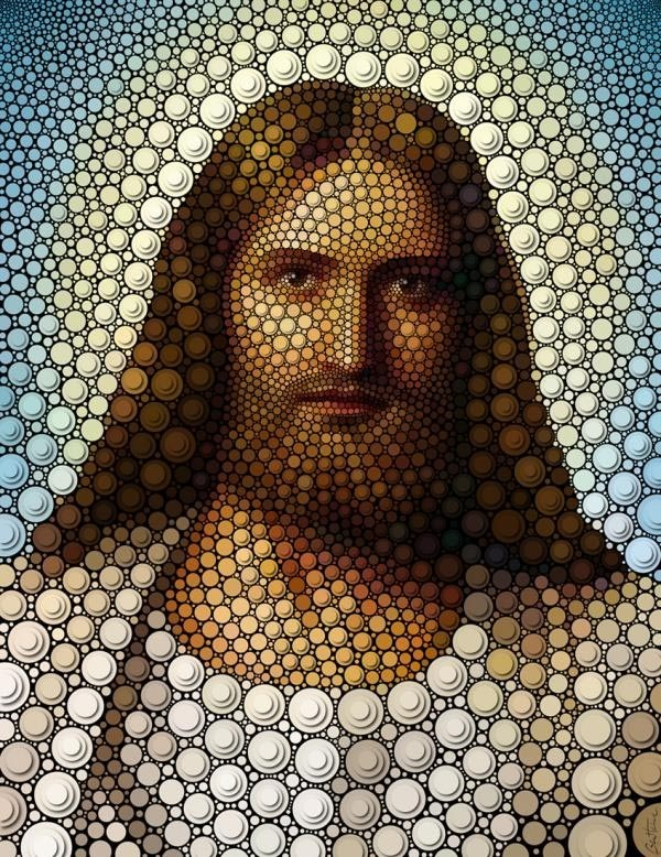 made from thousands of circles by Ben Heine