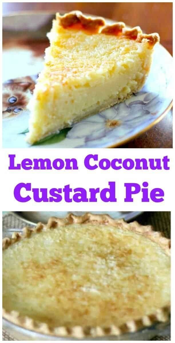 Creamy Lemon Coconut Custard Pie You Ll Be Blown Away By This Pie So Easy To Make And The Coconut M Coconut Custard Pie Coconut Recipes Lemon Dessert Recipes