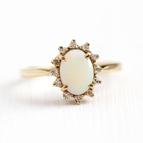 Stunning Vintage 10k Yellow Gold Opal Ring This Classic Retro Beauty Features An Oval Opal Gemstone Su Yellow Gold Opal Ring Opal Ring Gold Opal Diamond Ring
