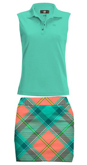 Loudmouth Golf Ladies & Plus Size Outfits (Shirt & Skort) - Pebble Peach & Aqua