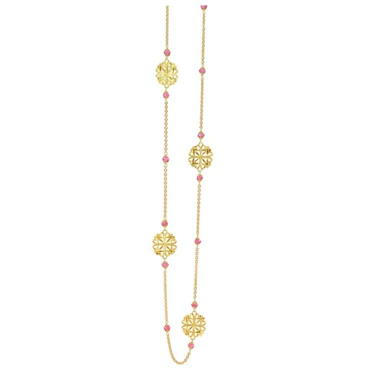 LALAoUNIS Aurelia Long Necklace in 18 Karat Gold with Pink Sapphire 1