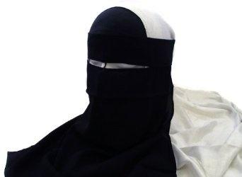 Single Layer Niqab Face Veil Hijab Burka for Muslim Women with Tie-Backs - Islamic Clothing