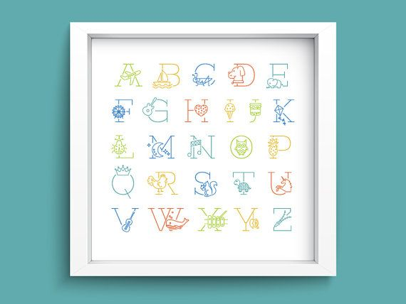 "Framed Children's Icon Alphabet Print - 16"" x 16"""