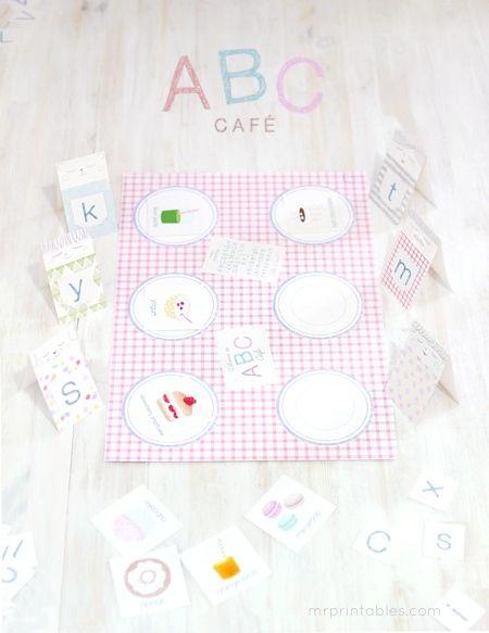ABC cafe printable file folder game