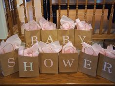 Baby Shower Game - each bag contains a baby item beginning with that letter - guests try to guess the item in the bag - most correct guesses wins a prize!
