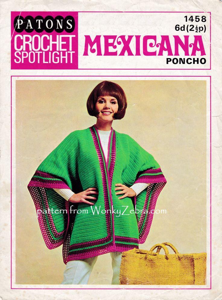easy peasy, on trend, crochet poncho. a slight mexican serape vibe....good starter garment to crochet! WZ809