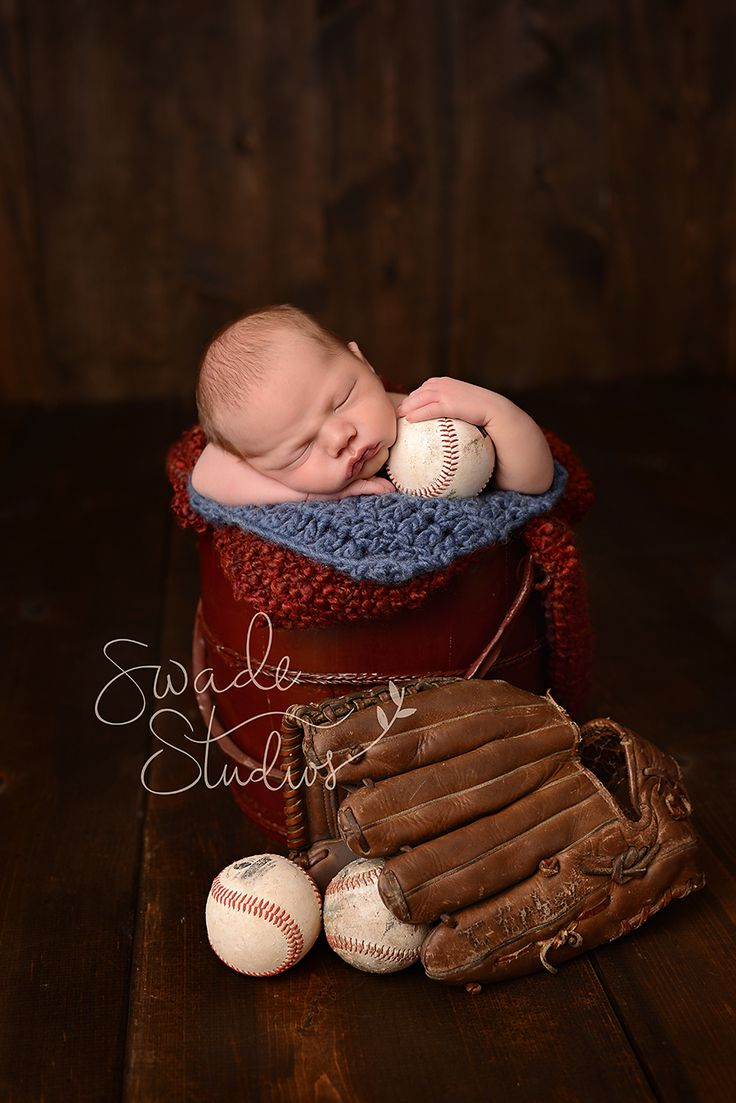 Kansas City Newborn Photographer, Swade Studios www.swadestudiosphotography.com - newborn boy vintage baseball, red bucket, baseball glove, baseballs, red and blue, vintage baseball nursery.