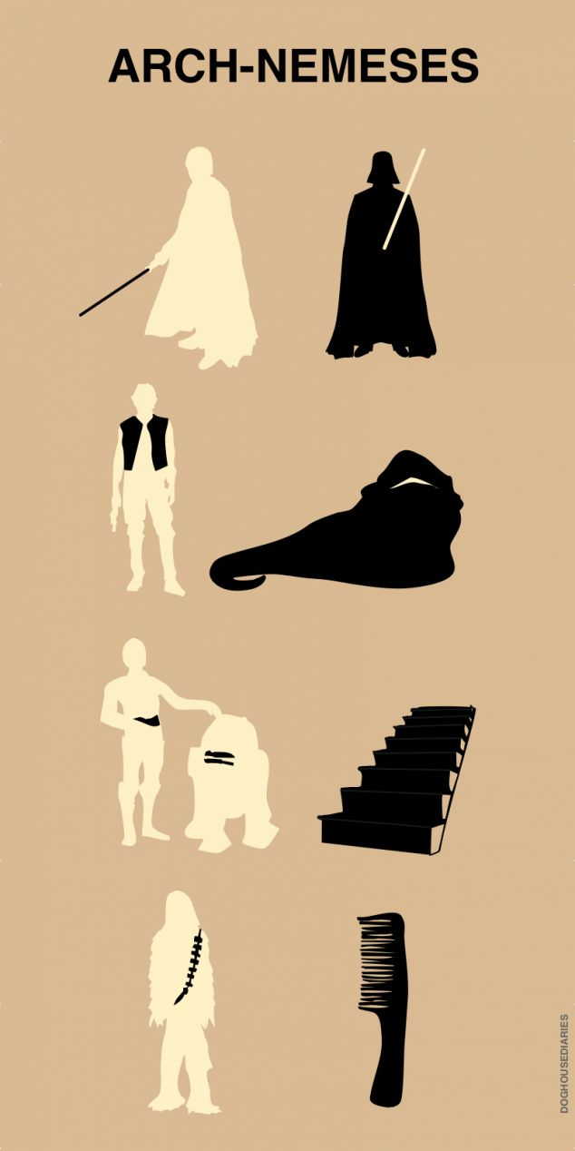 Star Wars protagonists and their personal archenemies!: Chewbacca, Arches Nemes, Funny Stars War, Stairs, Funny Pictures, Funny Commercial, Star Wars, True Stories, Starwars