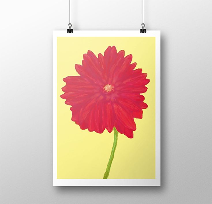 Excited to share the latest addition to my #etsy shop: Red Daisy, Red Gerber Daisy Art Print, Giclee Print, Daisy Print, Art Print, Original Painting, Giclee Art Print, Barak Obama #gerberdaisy #artprint