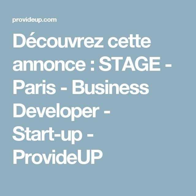 Découvrez cette annonce : STAGE - Paris - Business Developer - Start-up - ProvideUP