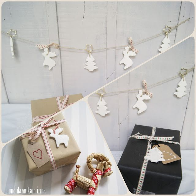 Geschenkanhänger weiße Weihnachtsornamente aus Natron und Maisstärke