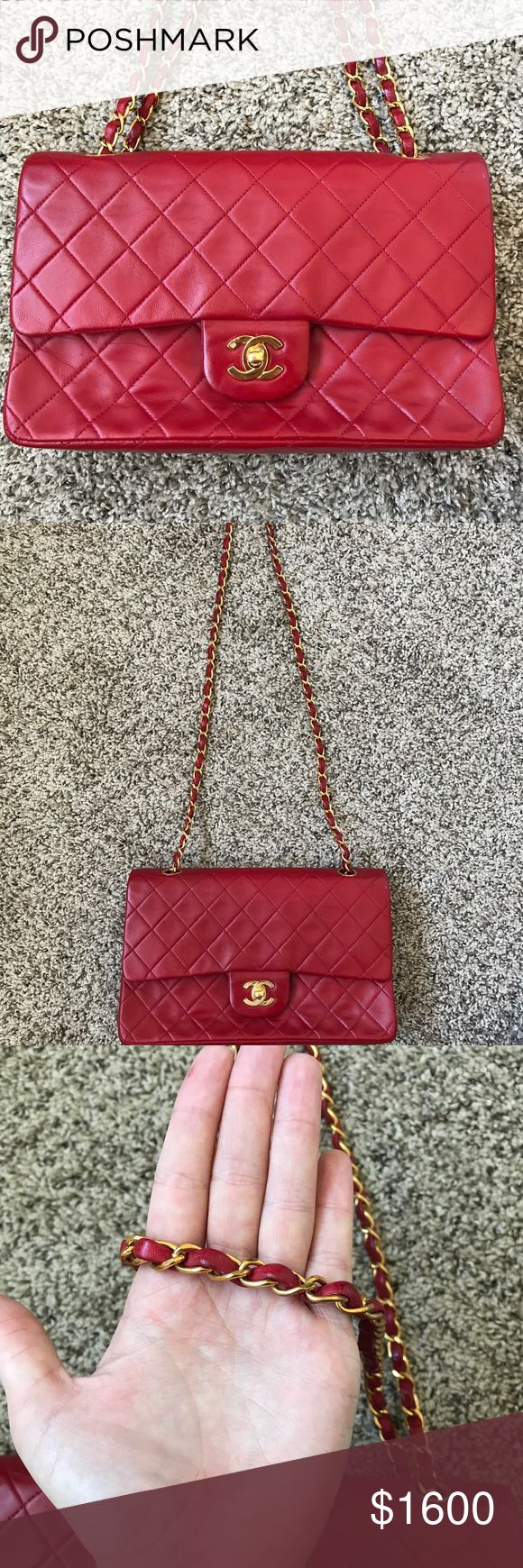 100% AUTHENTIC CHANEL Lambskin Double Flap Bag. CHANEL Red Lambskin Leather Classic Double Flap 255 Shoulder Bag A282. Vintage bag in AMAZING condition!! Minor scuffs shown in photos. 100% AUTHENTIC!!! Accepting offers! CHANEL Bags Shoulder Bags