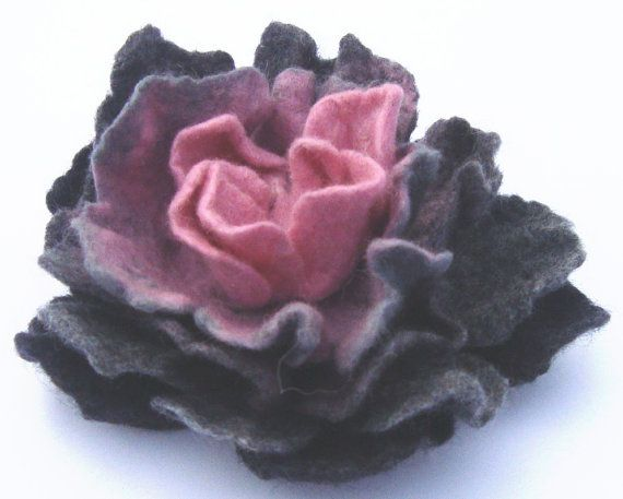 Felt brooch Gray with light Pink  Flowers Brooch  by kristianafelt