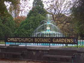 The Christchurch Botanic Gardens, enclosed by a loop of the Avon River, sit on the edge of Hagley Park in central Christchurch near the historic Arts Centre buildings.