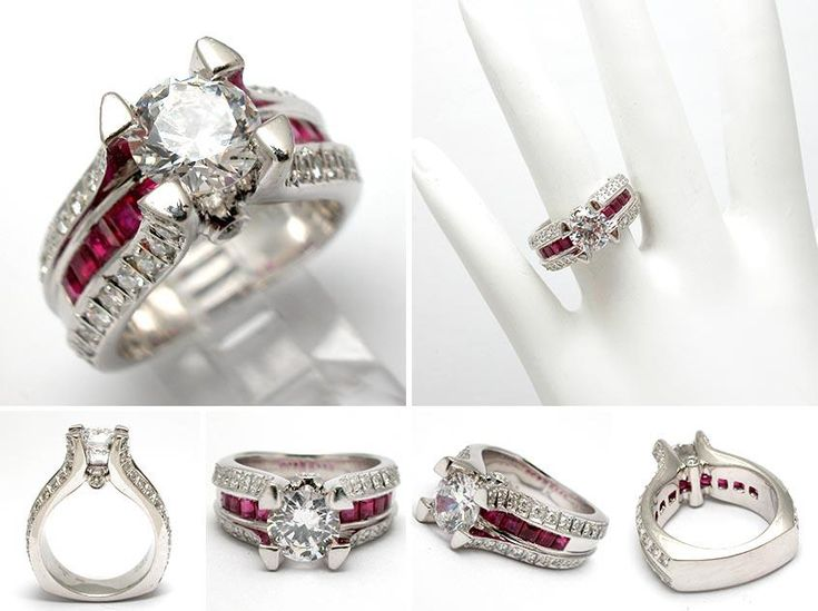 natural ruby u0026amp diamond engagement ring semi mount solid platinum ruby diamond rings 846x632 - Ruby Wedding Ring Sets