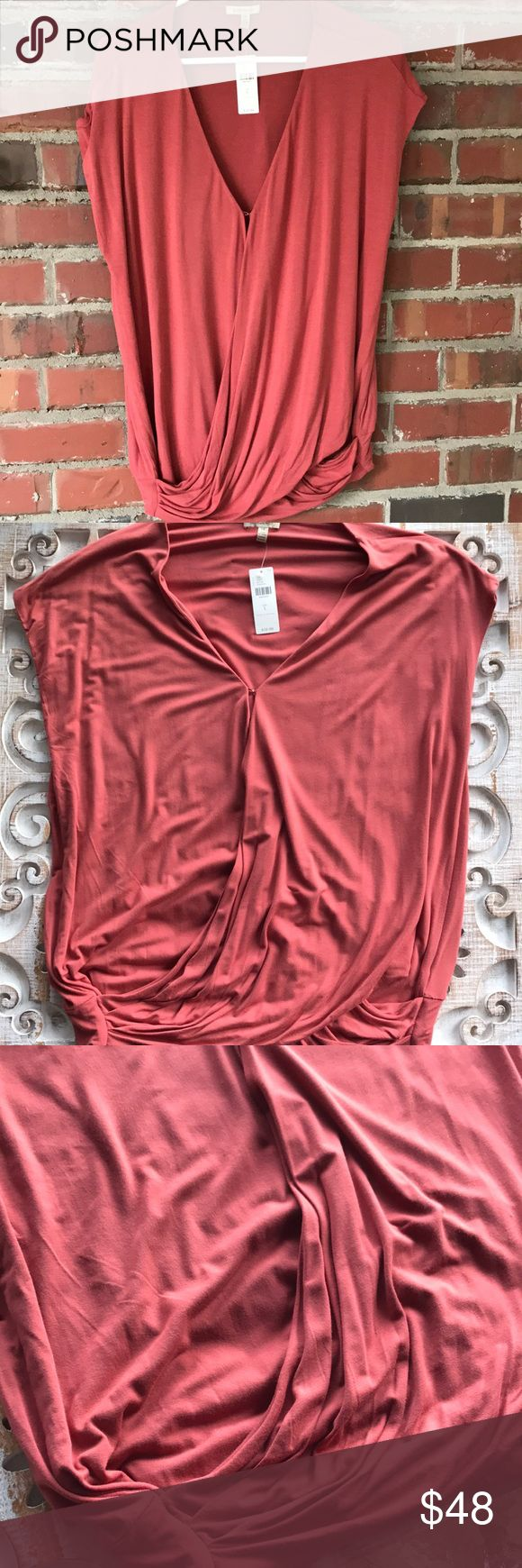 Anthropologie, Bordeaux Top, size L with tags Brand new w/ tag .. this top has a very pretty wrap look with a hook closure at the chest.  Smoke free home Tops Tees - Short Sleeve