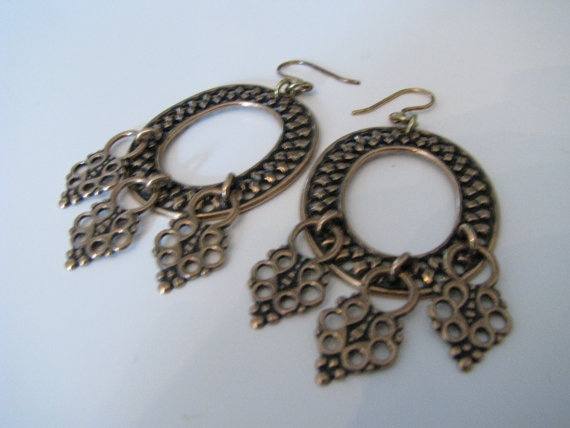 Kalevala Koru Pendant of Lapland Huge Bronze Earrings