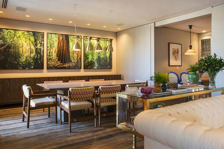 Decoração de: Sala de jantar; fotografias de paisagem; Casa de Valentina
