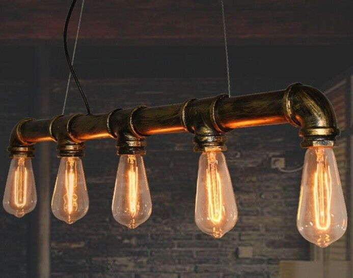Loft vintage American country iron water pipe pendant lamp brass finished