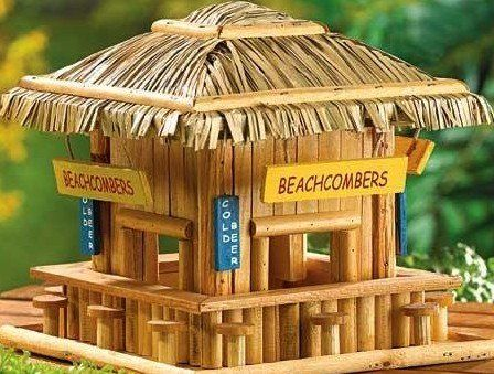 Beach Combers Bungalow Tiki Hut Pool Bar Bamboo Lounge Model Bird House  Feeder