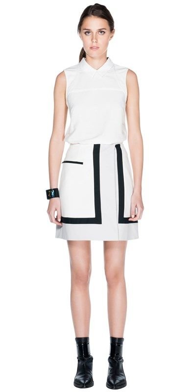CUE - Stretch Cotton Contrast Skirt