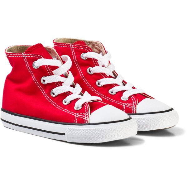 Converse Red Chuck Taylor All Star High Top Trainers ($45) ❤ liked on Polyvore featuring shoes, sneakers, star shoes, red high-top sneakers, red sneakers, converse shoes and hi tops