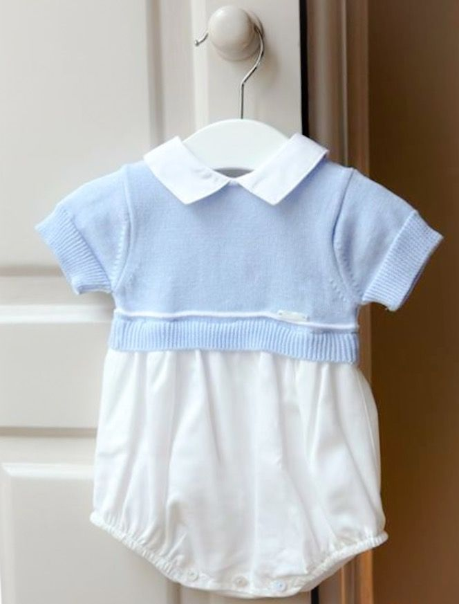 Wedoble blue and white romper | knitted baby clothes | knitted baby wear | Spanish baby clothes | Portuguese baby clothes | Hertfordshire baby boutique | traditional baby clothes
