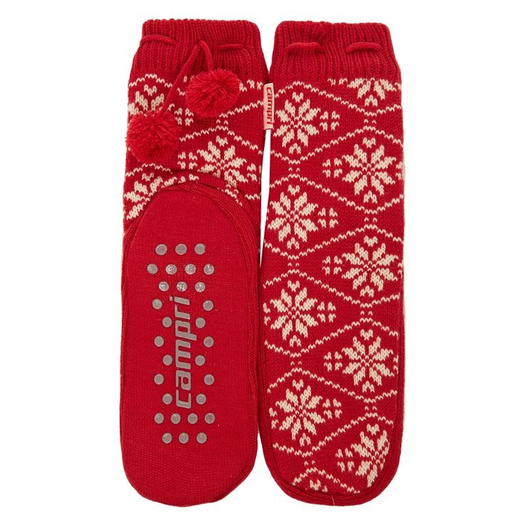 """Campri"" Red Snowflake Slipper Socks - TK Maxx (Women)"