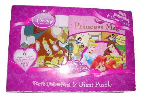 Disney Princess First Look & Find & Giant Puzzle by Disney. $35.99. Search, Point, and Match - Practice Counting - Identify Shapes & Colors - Read a Book Alone - Practice Motor Skills. Includes: 1 First Look & Find Book and 1 Giant Floor Puzzle. 6 square feet of first look & find puzzle fun. 3' x 2' Puzzle. Comes with book and 24 large puzzle pieces