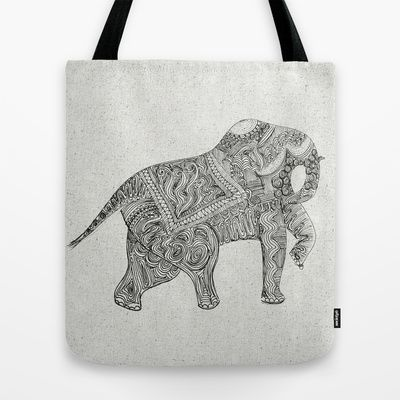 Elephant Tote Bag by clickybird - Belinda Gillies - $22.00
