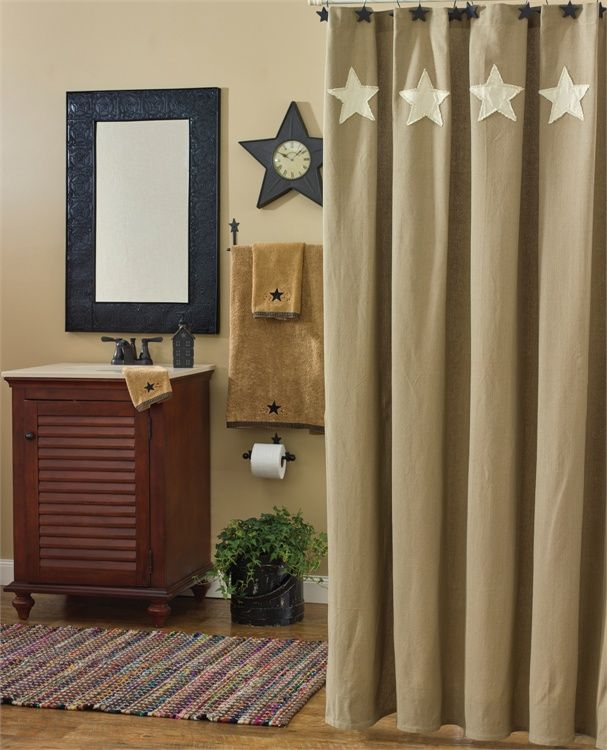 Country shower curtains with matching window treatments for Bathroom curtains window treatments