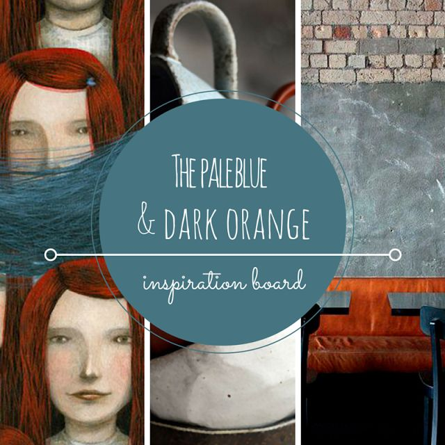 Pale blue color, dark orange color, blue and orange combination, inspiration board • the Round Button