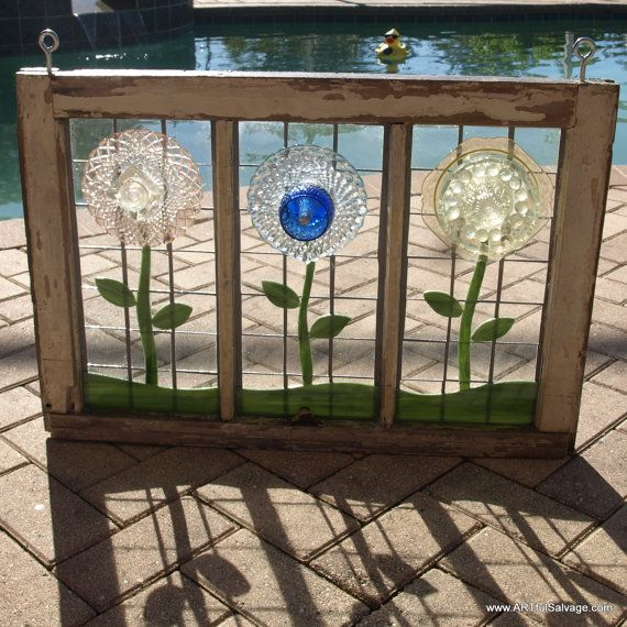 Stained Glass Plate Flowers Mosaic Repurpose By