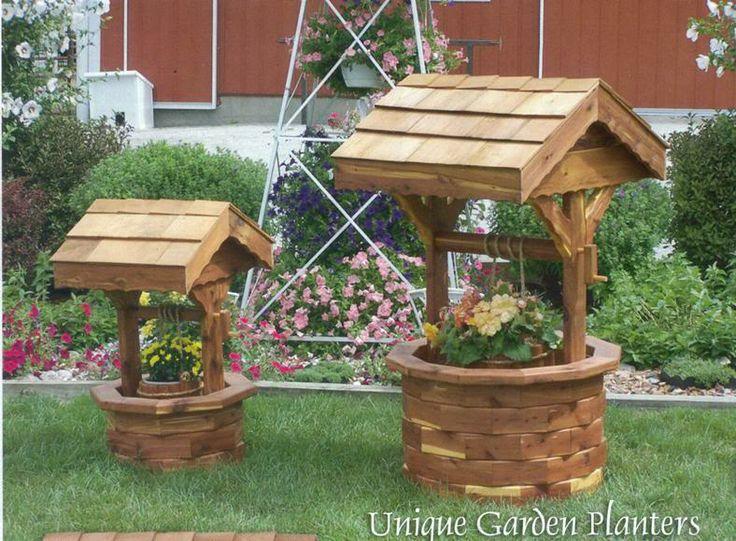 Attractive Amish Garden Accessories | Details About Amish Wooden Wishing Well Garden  Planter Yard Decor Lg.