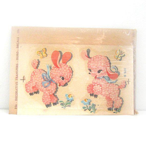 Vintage Duro Decal Transfers Nursery Decor Pink Baby Lambs NOS - 26 Best VINTAGE DECALS Images On Pinterest Vintage Images, Vintage