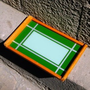 Art Deco German-Bauhaus Spritzdekor-Underglass Painted-Geometric Cocktail Tray…