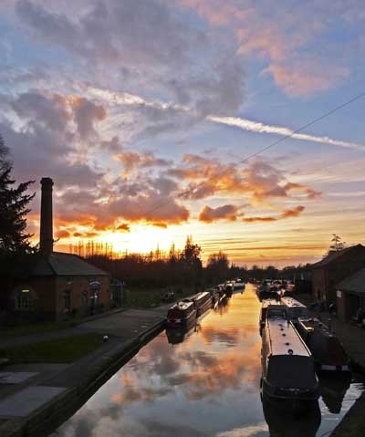 Sunset looking west along Grand Union Canal