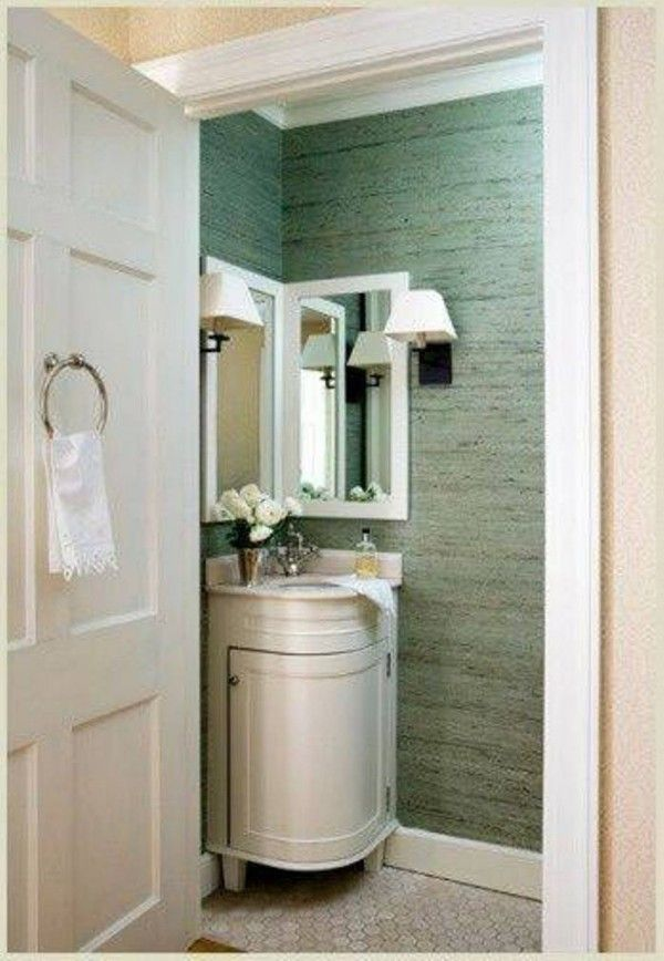 toilet and corner sink bathroom   ... for you who want to place corner fixtures inside your small bathroom