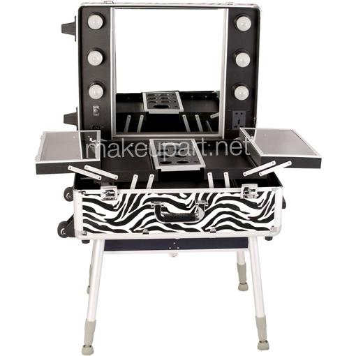 Studio Makeup Case W Lights Mirror Amp Legs Zebra