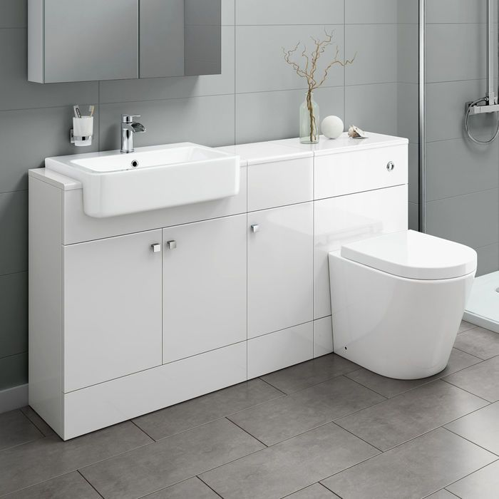 1500mm Harper Gloss White Combined Vanity Unit Lyon Pan Soak