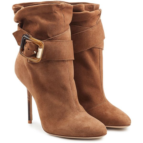 Burberry Shoes & Accessories Suede Ankle Boots (5.679.590 IDR) ❤ liked on Polyvore featuring shoes, boots, ankle booties, ankle boots, heels, booties, brown, brown heel boots, buckle ankle boots and heeled booties